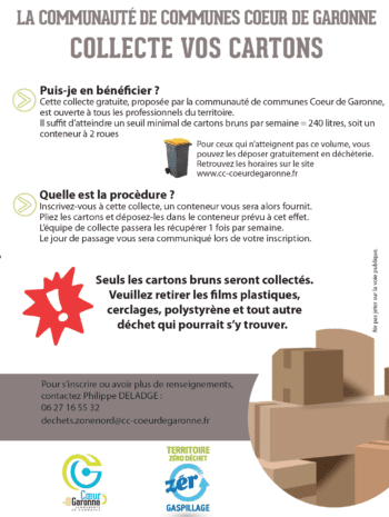 Affiche collecte des cartons professionnels Coeur de Garonne